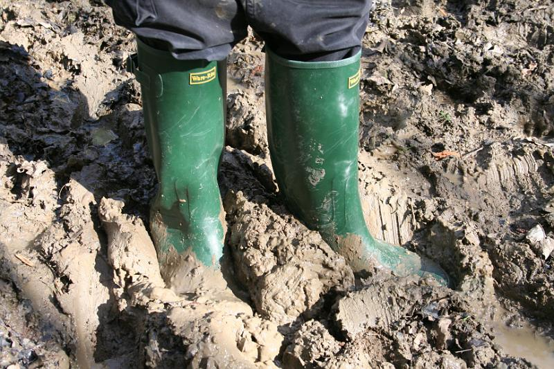 Wellington boots squelching through the clay mud of Maulden Wood, Bedfordshire.