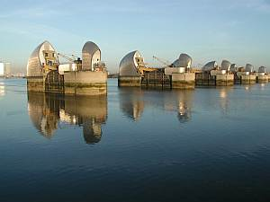The London Thames Barrier, built to withstand floods in London. Climate changes will mean it is used increasingly often. Image credit: Defra, Crown Copyright.