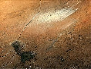 Desertification from space - a dust storm in Chad. Image credit and copyright: NASA Goddard Space Flight Center (NASA-GSFC)