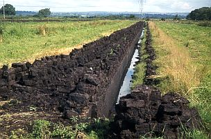 Peat cutting in Somerset, England. You can really see the impact peat cutting has on the landscape! Image Credit and Copyright: Rodney Burton
